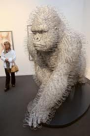 Electroless nickel plated gorilla by David Mach