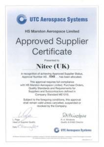 Approval certificate for HS Marsden