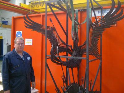 mild steel phoenix sculpture