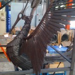 mild steel sculpture of phoenix