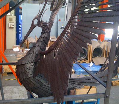 mild steel sculpture of phoenix