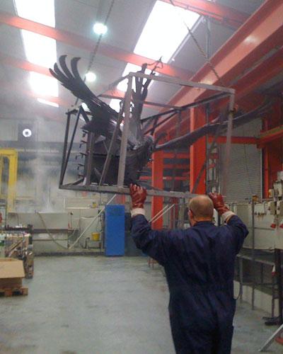 mild steel sculpture suspended