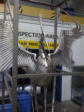 nickel plated phoenix sculpture